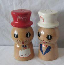 VTG 50s 60s WOODEN SALTY PEPPY SALT PEPPER SHAKERS KITTY CAT JAPAN RETRO KITCHEN