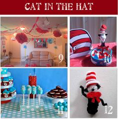Cat in the Hat Baby Shower Ideas Dr Seuss Birthday Party, 1st Birthday Parties, Birthday Ideas, 2nd Birthday, Dr Seuss Baby Shower, Baby Boy Shower, Shower Party, Baby Shower Parties, Cat In The Hat Party