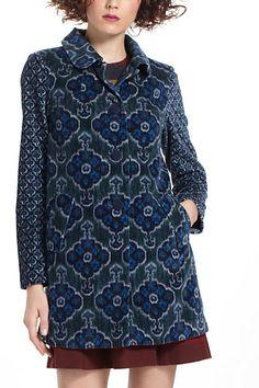668f3453fe7c1 Anthropologie Elevenses Indigoflora Velveteen Coat in Ladies Size Perfect  Condition.