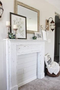 Excellent Screen stained Fireplace Surround Thoughts Concrete fireplaces can turn a regular room into something extraordinary. But careful planning and d Faux Foyer, Faux Mantle, Faux Fireplace Mantels, Fireplace Frame, Bedroom Fireplace, Fireplace Surrounds, Fireplace Makeovers, Fireplaces, Plywood Furniture