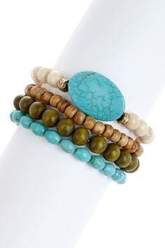Bone & Turquoise Bracelet Set by Gold Rush. on @HauteLook