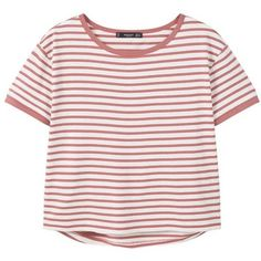 Striped Cotton T-Shirt (€11) ❤ liked on Polyvore featuring tops, t-shirts, shirts, clothes - tops, short-sleeve shirt, round t shirt, stripe shirt, short sleeve t shirt and stripe cotton shirt