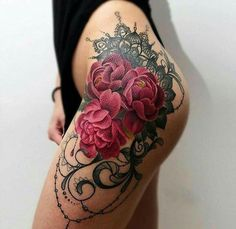 Thigh roses tattoo