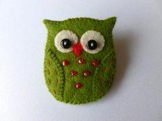 Felt Owl Brooch Pin  Handmade by SewJuneJones on Etsy, £6.00