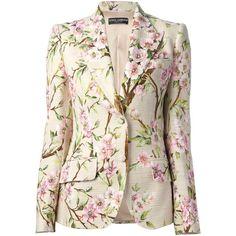 DOLCE & GABBANA floral print blazer (344.100 HUF) ❤ liked on Polyvore featuring outerwear, jackets, blazers, coats, tops, dolce gabbana blazer, flower print blazer, pink floral jacket, floral jacket and peak lapel blazer