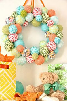 Fabric covered styrofoam ball wreath - cute for kids room