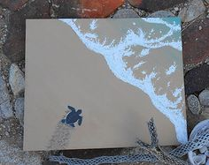 Sea Turtle Painting, Large Beach Painting Acrylic Art, Beach House Decorations, Baby Sea Turtle Art, Surf Art, Ocean Painting, Beach Decor