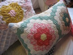 Vintage Quilts repurposed into Pillow Covers 2019 Vintage Quilts repurposed in. Vintage Quilts repurposed into Pillow Covers 2019 Vintage Quilts repurposed into Pillow Covers T Quilts Vintage, Old Quilts, Antique Quilts, Vintage Fabrics, Vintage Linen, Vintage Sewing, Embroidery Transfers, Embroidery Designs, Embroidery Thread