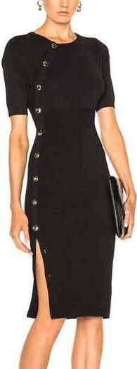 Black Button-Embellished Fitted Dress