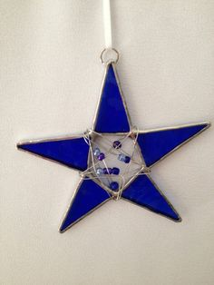 Stained Glass Ornament - Cobalt Blue Star with Glass Beads via Etsy
