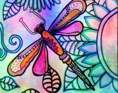 Dragonfly When you Shine flowers art print by RobinMeadDesigns