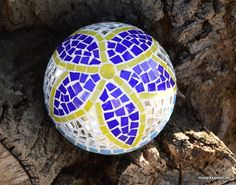 Rosenkugel blau gelb spiegel 16 cm - Mosaikkasten