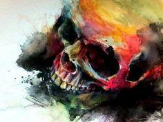 skull aquarel
