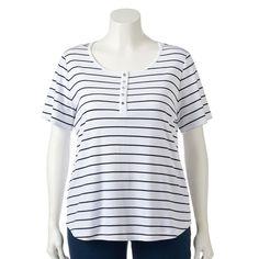 Plus Size Croft & Barrow® Henley Tee, Women's, Size: 3XL, White