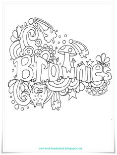 Brownies Doodle by Lee Ann Fraser Girl Scout Songs, Girl Scout Leader, Daisy Girl Scouts, Girl Scout Troop, Girl Scout Crafts, Scout Mom, Brownie Quest, Brownie Girl Scouts, Brownie Meeting Ideas