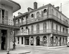 """New Orleans circa Royal Street, Sign."""" Among the highlights: interesting period signage, a ghost pedestrian and an ectoplasmic dog. inch acetate negative by Frances Benjamin Johnston Shorpy Historical Photo Archive :: Royal Furniture: 1937 Louisiana History, New Orleans Louisiana, New Orleans Architecture, Southern Architecture, Shorpy Historical Photos, New Orleans History, Royal Furniture, New Orleans French Quarter, Dere"""