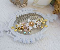 Bridal Hair Comb, Shabby Chic Hair Piece, Vintage Bridal Hair Accessories, Romantic Floral Hair Comb Collage, Wedding Hair Comb, Hair Vine by www.lisamariespiece.etsy.com