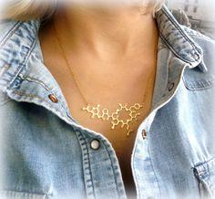 Collier de molécule ocytocine vente collier |  -9 ct - 9 K or massif | bijoux de chimie | bijoux de la science
