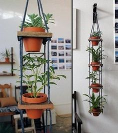 Creative DIY Gardening Idea: Pots Hanger via thelovelyplants...this isn't really 'simple' but I think I would like to try it ... GREAT idea!
