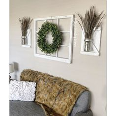 Make a statement in your home with this wall vignette. 😍 Featuring our Wall Sconces, Thick 9 Pane Window Frame and the new Green Spring Wreath. All finished in Distressed White. house window with wreath Rustic Window Frame, Window Pane Decor, Antique Window Frames, Frame Wall Decor, Decorating With Window Panes, Framed Wall, Window Frame Ideas, Window Frame Crafts, Antique Windows