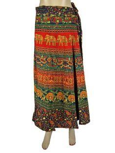 Women Long Wrap Skirt, Hippie Boho Orange Red Elephant Peacock Printed Cotton Gypsy Skirt Mogul Interior,http://www.amazon.com/dp/B00CB9T3XS/ref=cm_sw_r_pi_dp_3oXzrb516C74419C