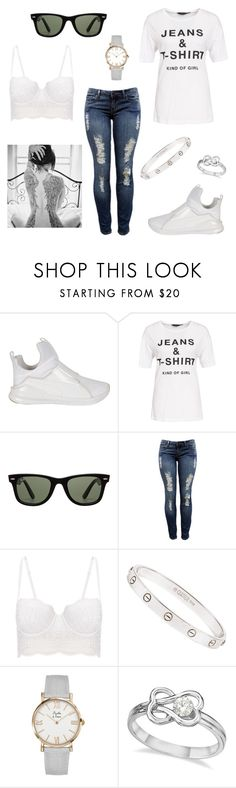 """""""jeans and t-shirt outfit"""" by dpclma ❤ liked on Polyvore featuring Puma, New Look, Ray-Ban, Forever 21, La Perla, Cartier and Allurez"""