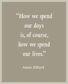 """""""How we spend our days is, of course, how we spend our lives."""" - Annie Dillard What have you done today?"""