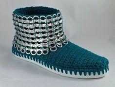 Textured Blocks Crochet Boots crochet shoes for indoor от ManieOne Bohemian Boots, Hippie Boho, Hand Crochet, Knit Crochet, Pop Top Crafts, Pop Can Tabs, Zipper Flowers, Crochet Boots, Knit Shoes