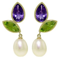 14k Solid Gold Dangle Earrings with Amethysts Peridots and Pearls >>> You can find out more details at the link of the image.