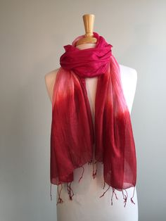 Silk Tricolor Scarf - Summer Red