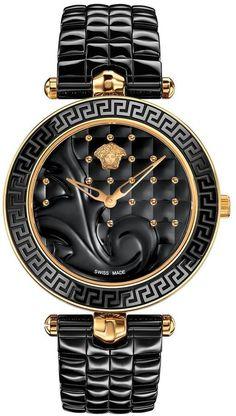 VERSACE Versace Vanitas Ceramic Black Baroque Pattern Dial Black Ceramic Quilted Bracelet Ladies Watch