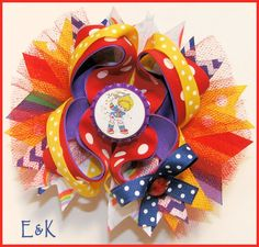 Boutique Rainbow Brite Hair bow by EKBows on Etsy, $12.00