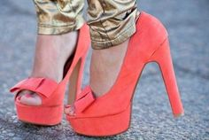 There is 1 tip to buy shoes, pumps, high heels, pink high heels, bow. Orange High Heels, Coral Heels, Orange Shoes, Pink Shoes, Bright Heels, Orange Pumps, Colored Shoes, Coral Orange, Yellow
