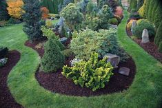 Islands mulched with dark colored mulch