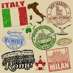 carte drapeau italie: Jeu de timbres grunge avec l'Italie sur fond rétro, illustration vectorielle
