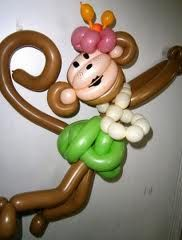 monkey balloon, Abby would love this if we made the green into like a purple tutu, and the necklace can be another purple or pink - I do like the lips drawn on thats cute and the two tone face -like that the tail curls