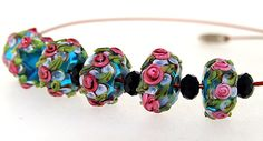 Elegant  Lampwork Superb Hole 4mm 6Beads Lampwork bead Rose Flower Rondelle Lampwork Handmade jewelry designs  European Style