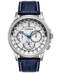 Citizen Men's Eco-Drive Calendrier Blue Leather Strap Watch 44mm BU2020-02A   macys.com