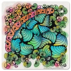 Pen & digital watercolor. JKL Tangles used: Jewellep, Kozy, Kenees & Lilypads ©Zandiepants - Part of Diane & Carolien's Weekly Zentangle Challenge week #4 http://www.dianeclancy.com/blog/2015/04/weekly-challenge-4-tangle-with-j-k-l/
