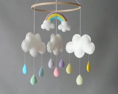 Rainbow Nursery Mobile Cloud Baby Mobile on Amazing Baby Photo 5523 Rainbow Nursery Decor, Clouds Nursery, Girl Nursery, Nursery Ideas, Rainbow Cloud, Rainbow Theme, Rainbow Baby, Diy Cot Mobile, Cloud Mobile