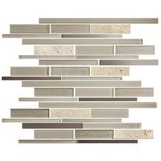 15.2 in. x 12.2 in. Glass Stone Blend Strip Mosaic Tile in Multi - 8mm Thickness (DK-8NF0505-023)