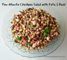 Ten-Minute Chickpea Salad: Ten-Minute Chickpea Salad -- http://www.shockinglydelicious.com/ten-minute-chickpea-salad-with-feta-a...