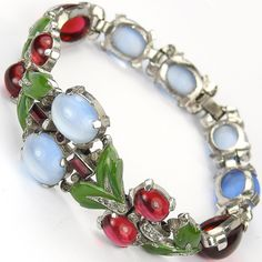 Trifari 'Alfred Philippe' Blue Moonstone, Ruby Cabochons and Enamelled Leaves Bracelet