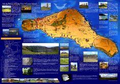 Isla de Pascua tourist guide map.