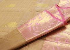 Golden Rose Pure Kanchipuram Silk Saree   Temple Of Kanchi Sarees