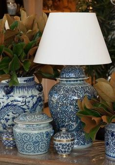 Decorating with Blue & White Lamps