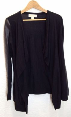 Beautiful! Michael Kors Faux Leather Trim Drape Front Cardigan Sweater Black Size S #MichaelKors #Cardigan