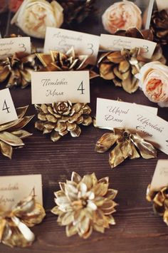 Gold-painted succulent escort cards are always a good idea.