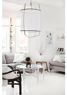 Scandinavian livingroom with ethnic touches.