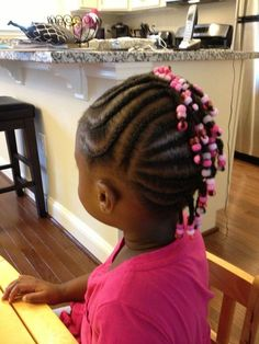 Brat Box by Naisa Cornrows, braids, beads, little girls hairstyle Black Baby Girl Hairstyles, Toddler Braided Hairstyles, Toddler Braids, Natural Hairstyles For Kids, Braids For Kids, Girls Braids, Natural Hair Styles, Braid Hairstyles, Infant Hairstyles